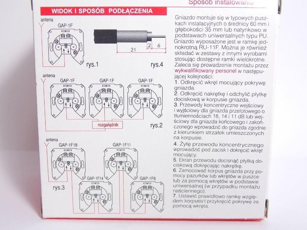 GAP1F01R Schneider Electric Forum Elda instrukcja gniazda RTV końcowego